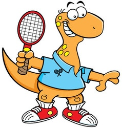 Cartoon brontosaurus playing tennis vector