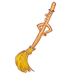 cartoon broom vector image vector image