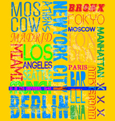 city names vintage slogan man t shirt graphic vector image