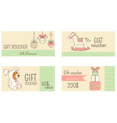 collection horizontal christmas gift vouchers vector image