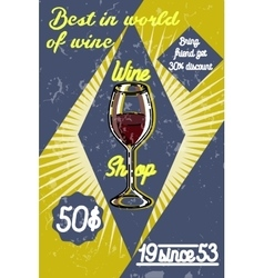 Color vintage wine shop poster vector