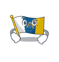 Cool flag canary island scroll mascot character vector