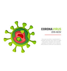 coronavirus paper cut style vector image