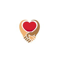 creative handshake heart inside logo vector image