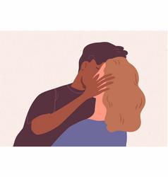 Cute multiracial couple kissing romantic vector
