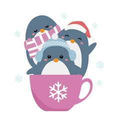 Cute winter penguins vector