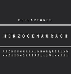Departures airport board with analog flip font and vector
