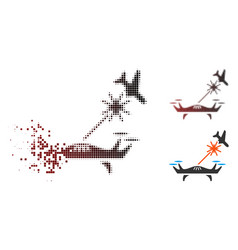 Disappearing pixel halftone laser drone strikes vector
