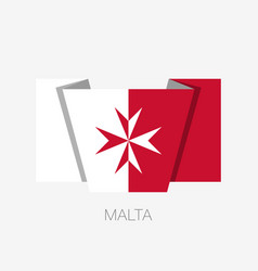 Flag of malta version with maltese cross flat vector