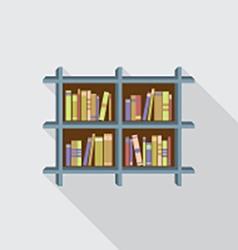 Flat Design Bookshelf On Wall vector image