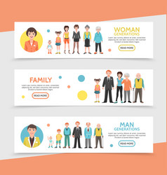flat people generation horizontal banners vector image