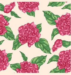 Floral seamless pattern garden flowers peonies vector