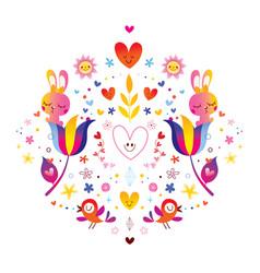 Flowers bunnies hearts and birds vector