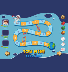 game template with spaceman and earth vector image