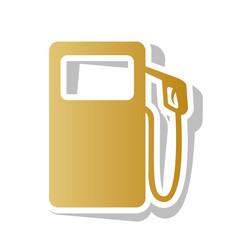 Gas pump sign golden gradient icon with vector