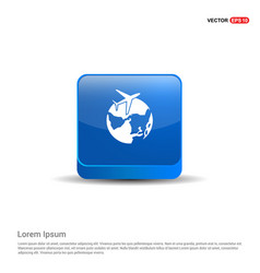globe icon with plane - 3d blue button vector image