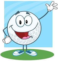 Golf Ball Character Waving For Greeting vector image