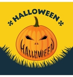 Halloween poster on a yellow background vector image