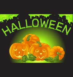 Halloween poster with pumpkins vector