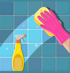 hands in green gloves with spray vector image
