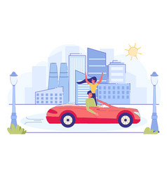 Happy couple riding red cabriolet car on cityscape vector
