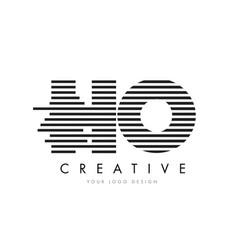 ho h o zebra letter logo design with black and vector image