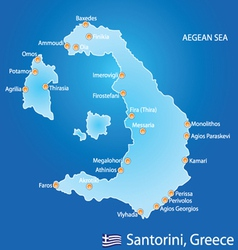 Island of Santorini in Greece map vector
