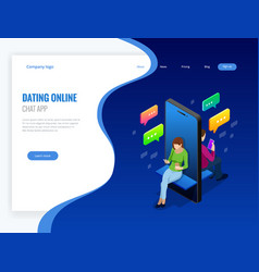 isometric online dating and social networking vector image