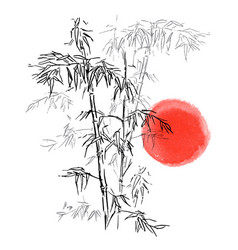japanese traditional bamboo branches isolated vector image