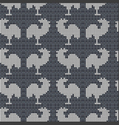 knitting gray with roosters vector image