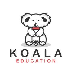 Koala holding a pencil smart animal education vector