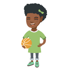 laughing schoolgirl holding a basketball ball vector image