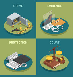 Law justice concept isometric icons vector