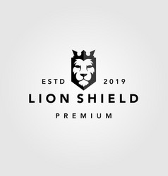 lion shield crown vintage retro logo template icon vector image
