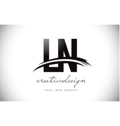 Ln l n letter logo design with swoosh and black vector