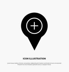 Location map navigation pin plus solid glyph icon vector