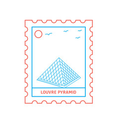 louvre pyramid postage stamp blue and red line vector image