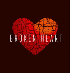 Love icon concept abstract broken heart symbol red vector