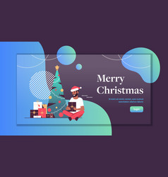 man holding gift present box merry christmas happy vector image