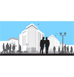 many silhouettes on blue sky background vector image