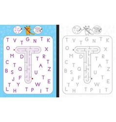 Maze letter t vector