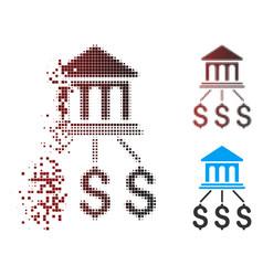 Moving pixel halftone bank scheme icon vector