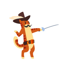 Musketeer cat character fighting with sword vector