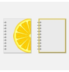 Notebook cover design with bright lemon vector