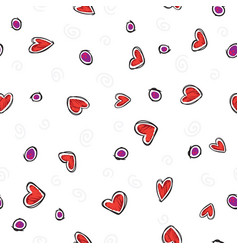 pattern red hearts on white background vector image