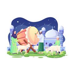 People welcome eid al adha mubarak at night vector
