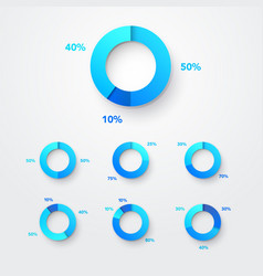 pie chart circle diagram infographic set vector image