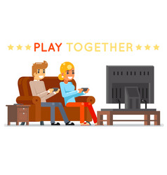 Play together gamer young girl boy watching tv vector