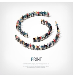 Print people sign 3d vector
