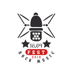 rock music fest logo 1804 black and red vector image